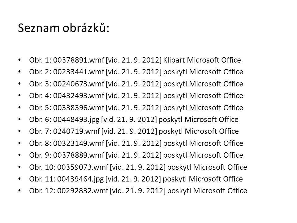 Seznam obrázků: Obr. 1: 00378891.wmf [vid. 21. 9. 2012] Klipart Microsoft Office. Obr. 2: 00233441.wmf [vid. 21. 9. 2012] poskytl Microsoft Office.